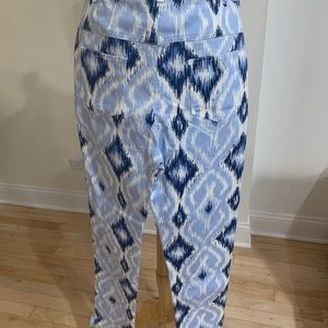 Blue and white ikat stretch skinny pants